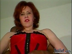 All poses fun with a pretty redhead milf
