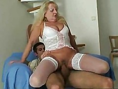 His old and wrinkled inlaw is sitting on his cock