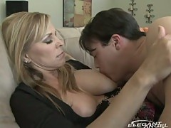Milf breastfeeds and sucks young dude