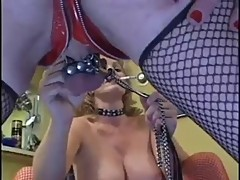 Blonde goddess with two shemale slave Part 2
