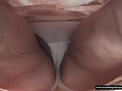 Mature British housewife shows white cotton panties close up