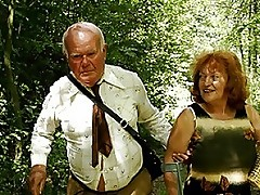 Mature Redhead Tart With Huge Tits Fucked Doggy In The Bushes