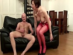 Stocking sofa slut loves to suck and fuck her new guy