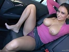 Fucking Busty Claudia Valentine in the Backseat POV Style