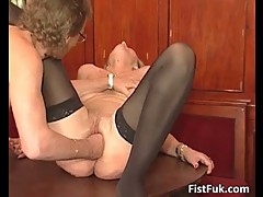 Lusty blonde mom in stockings fisted