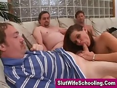 Brunette housewife sucking middle aged men